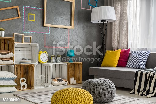 Modern style living room with diy regale, sofa and poufs