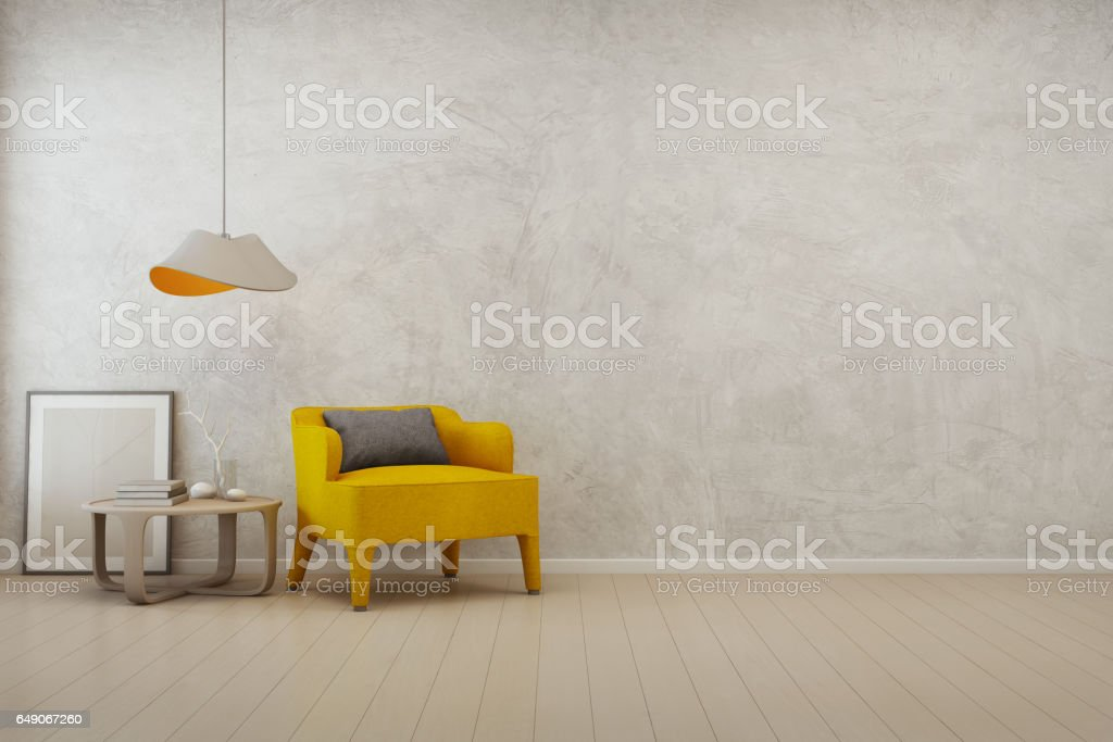 Living room with empty concrete wall background in modern house