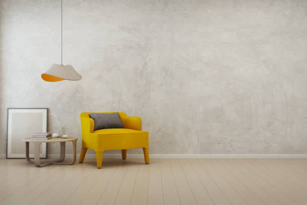 Living room with empty concrete wall background in modern house stock photo