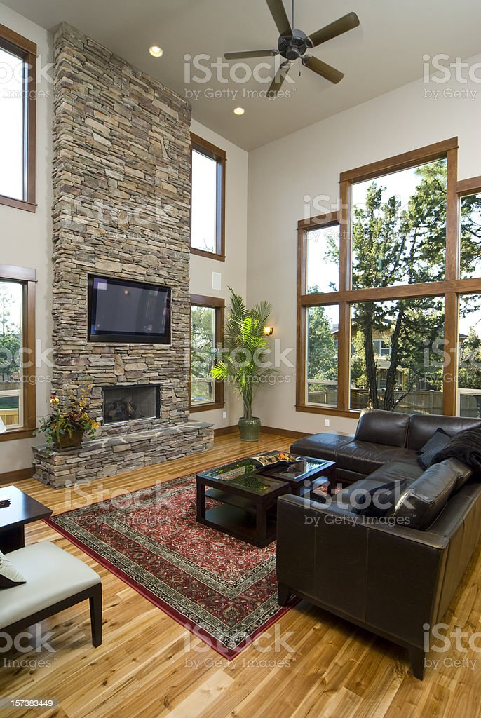 Living room with fire place and brick wall stock photo