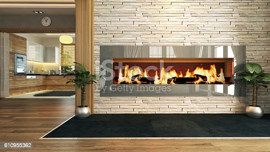 988616560 istock photo living room with fireplace decor design 610955362