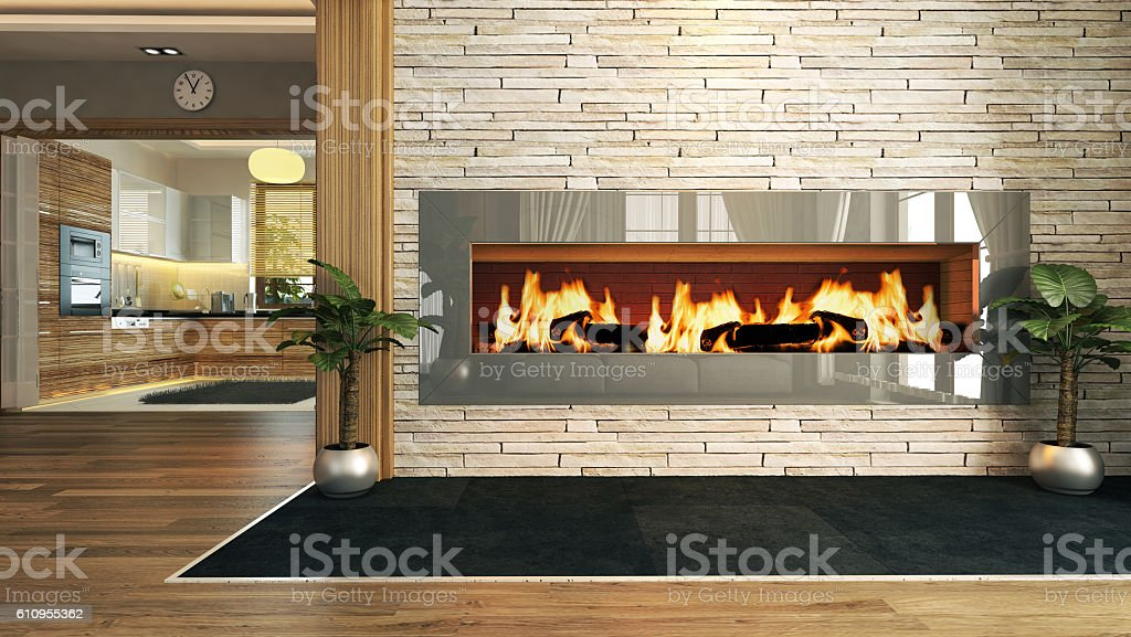 living room with fireplace decor design stock photo