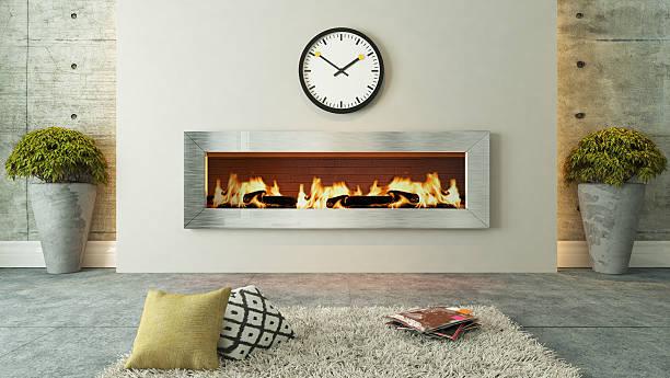 living room with fireplace decor design - betonboden wohnzimmer stock-fotos und bilder