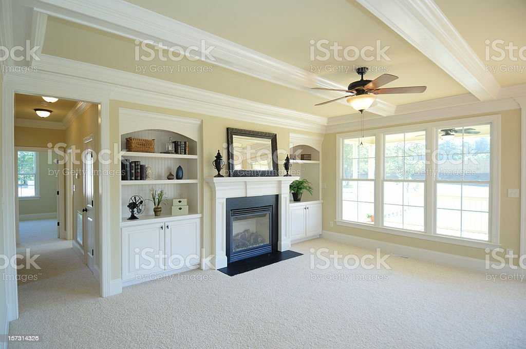 Living Room with Fireplace royalty-free stock photo