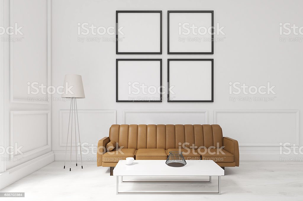 Living room with four posters, brown sofa royalty-free stock photo