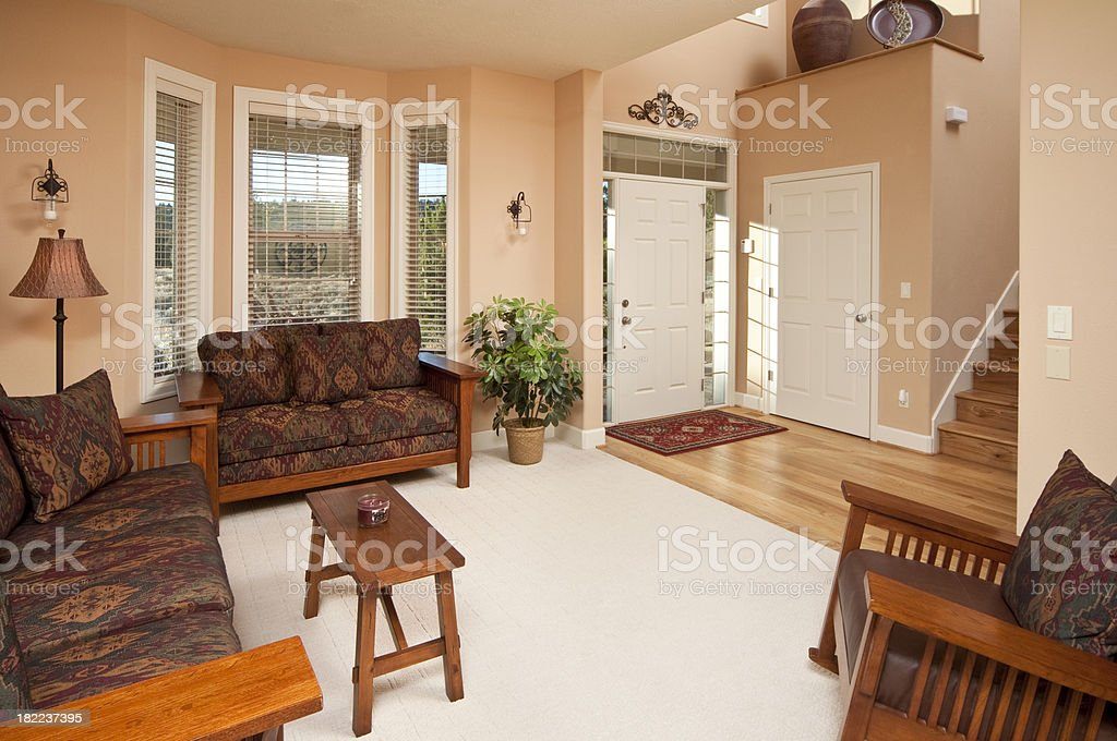 Living room with front entrance royalty-free stock photo