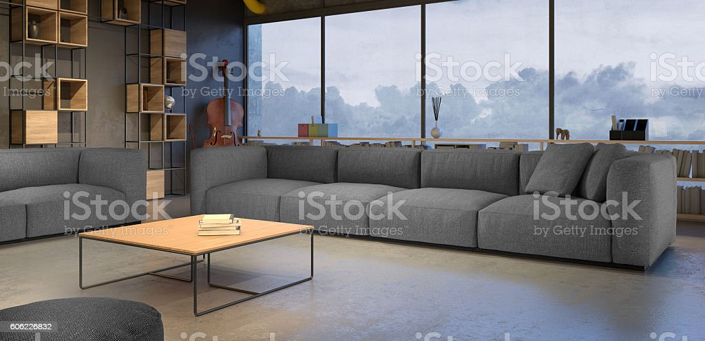 Living room with gray sofa stock photo