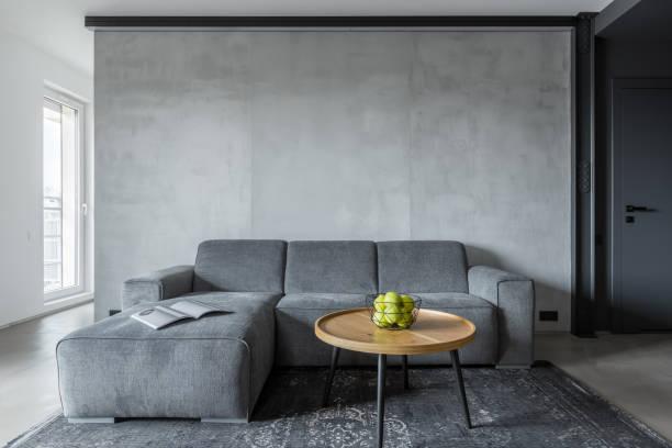 wohnzimmer mit grauen sofa - teppich geometrisch stock-fotos und bilder