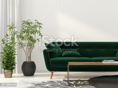 istock Living room with green sofa 611094476