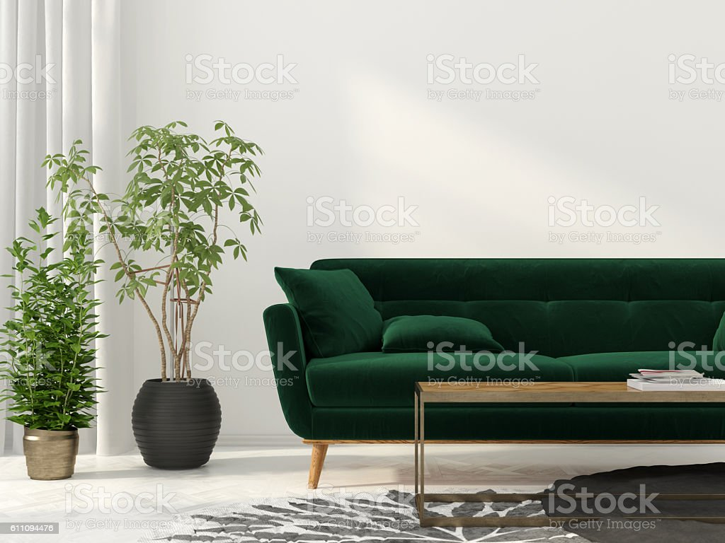 Living room with green sofa stock photo