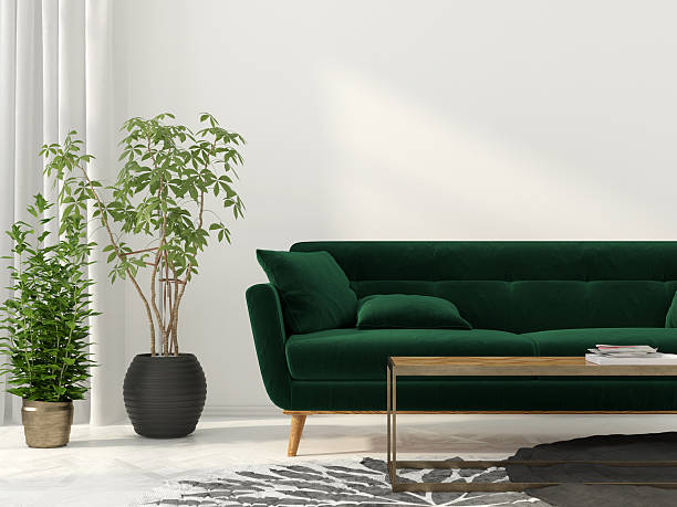Living room with green sofa - Photo