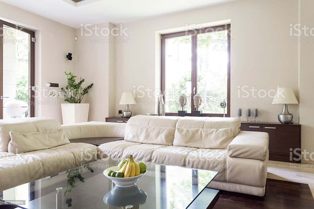 Living room with large corner sofa foto stock royalty-free