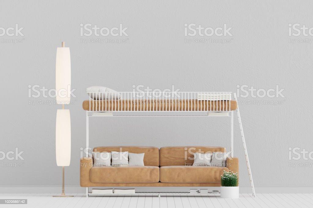 Salon Avec Canape En Cuir Cum Lit Lit Superpose Peu Rustique 3d