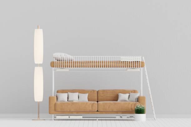 wohnzimmer mit ledersofa sperma-bett, etagenbett, minimale rustikal, 3d rendering - etagenbett weiss stock-fotos und bilder
