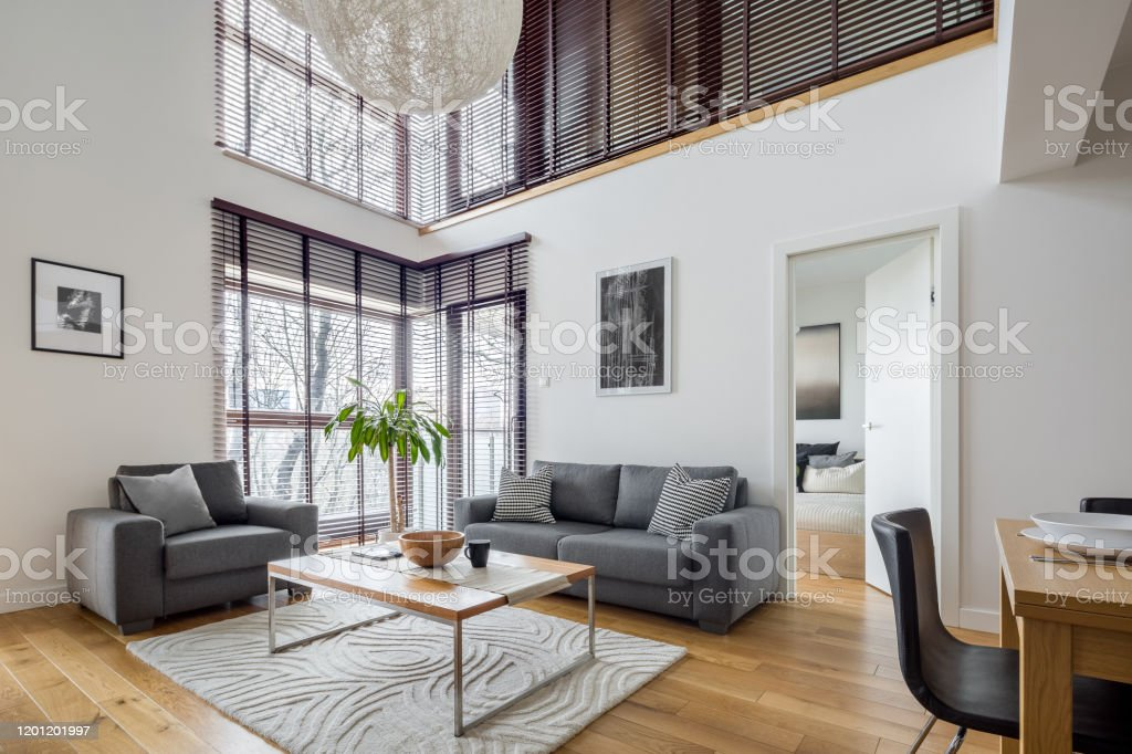 Living Room With Many Windows Stock Photo Download Image Now Istock