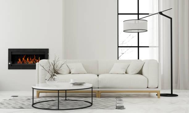 wohnzimmer mit minimalistischen kamin - kamin weiß stock-fotos und bilder