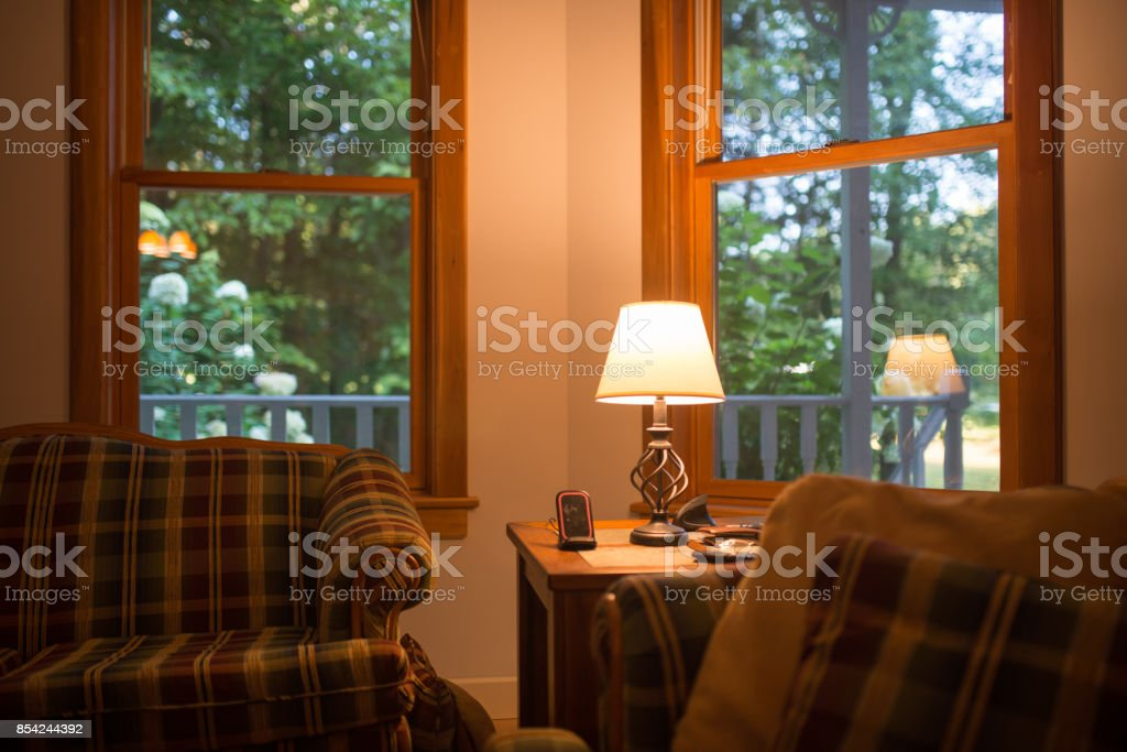 living room with nature view stock photo
