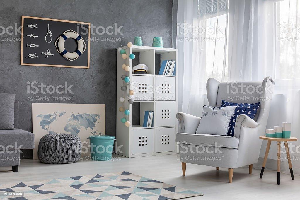Living room with nautical decor photo libre de droits