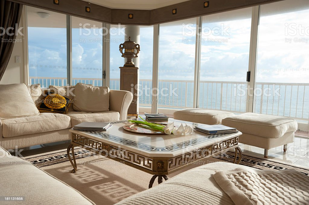 Living room with ocean view stock photo