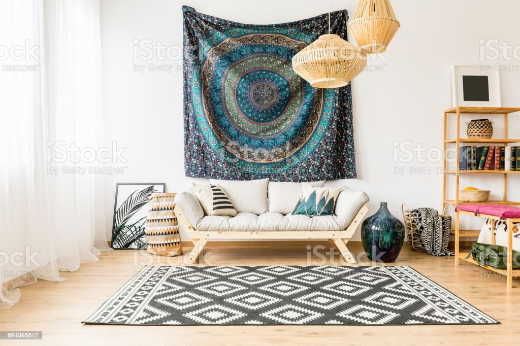 Living room with oriental accessories stock photo