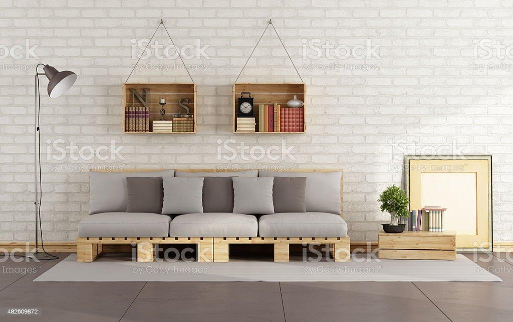 Wohnzimmer Mit Paletten Sofa Lizenzfreies Stock Foto