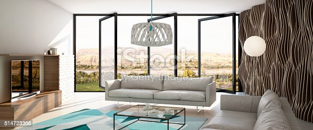 istock Living Room with Parametric Wall 514723356