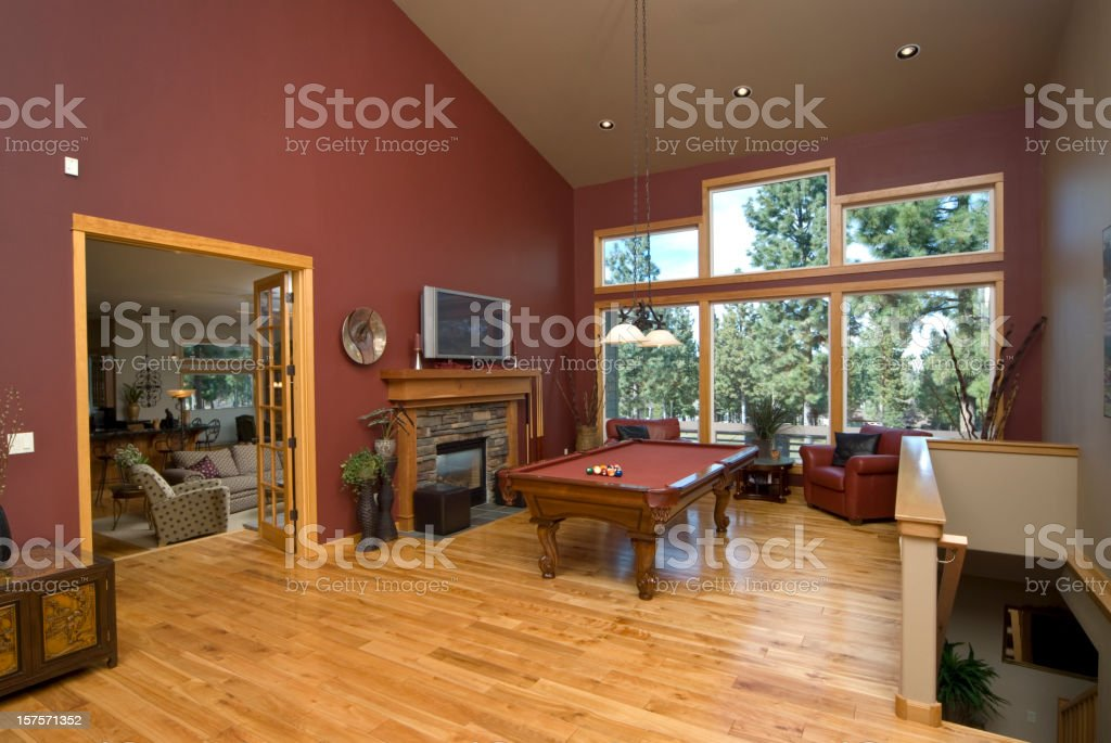 Living room with pool table stock photo