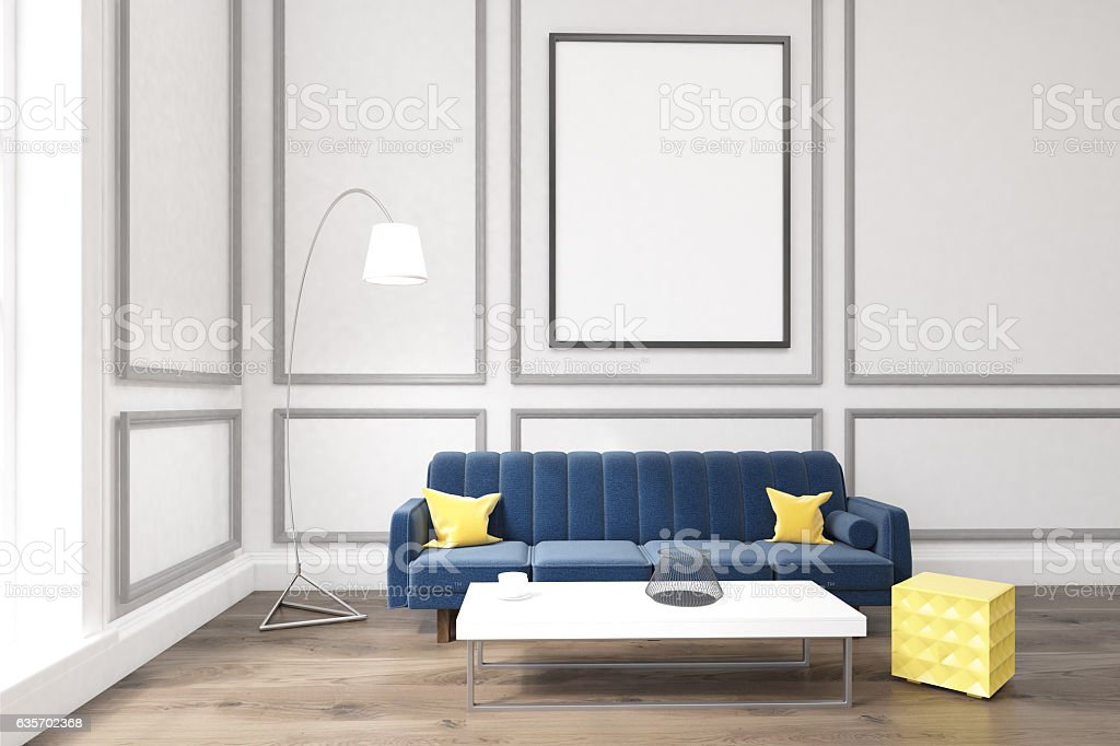 Living room with poster, blue sofa and a coffee table royalty-free stock photo
