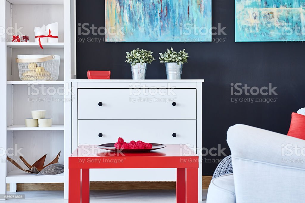 Living Room With Red Accessories Stock Photo & More Pictures ...