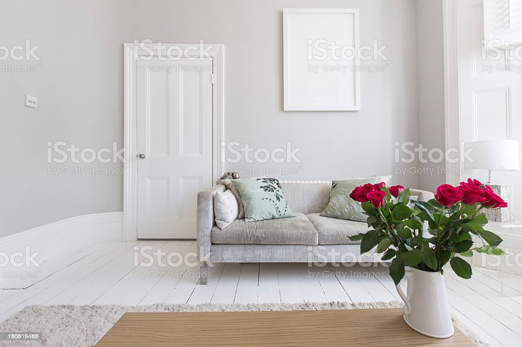 Living Room with Red Roses royalty-free stock photo