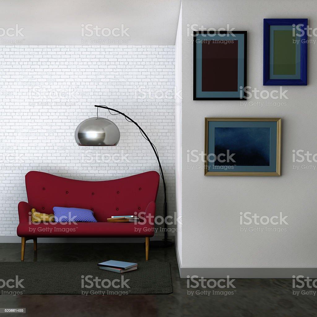 Wohnzimmer Mit Rotem Samt Sofa Und Gerahmte Bildergalerie Stock ...