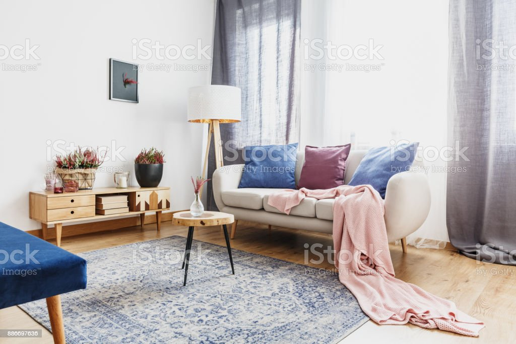 Living room with rustic cupboard stock photo