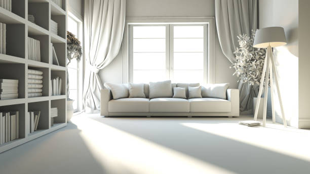 living room with seat and bookshelf 3D rendering stock photo