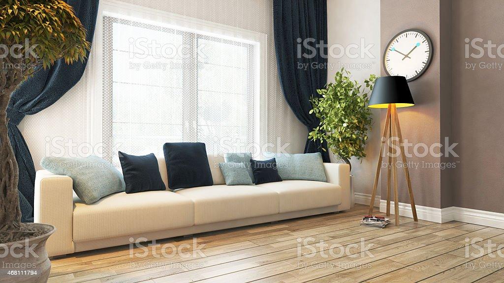Wohnzimmer Mit Arbeitsplatz Und Vorhang 3dabbildung ...