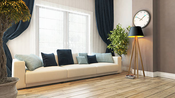 living room with seat and curtain 3d rendering stock photo
