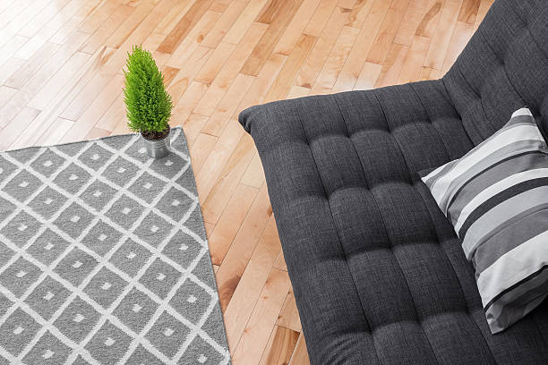 Living room with simple decor stock photo