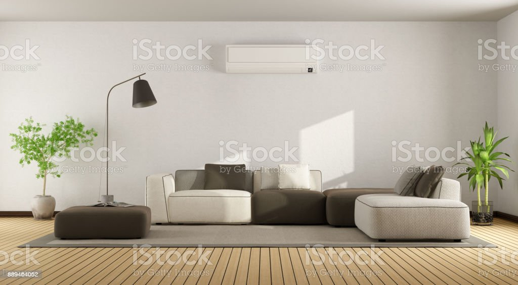Living room with sofa and air conditioner - foto stock