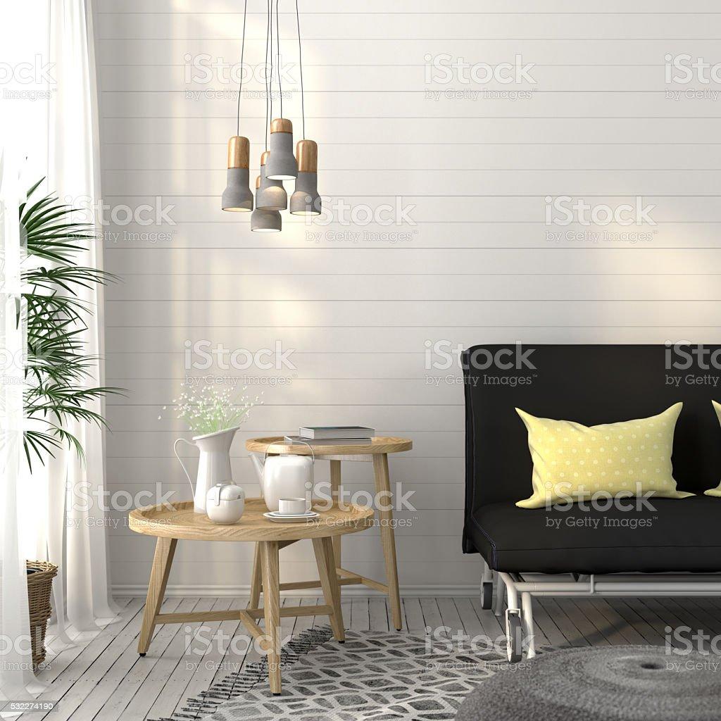 Foto De Sala De Estar Com Sof E Concreto Lustre E Mais Banco De  -> Lustre Para Sala De Apartamento
