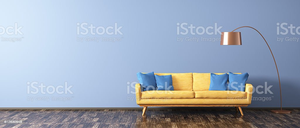Living room with sofa and floor lamp 3d rendering stock photo