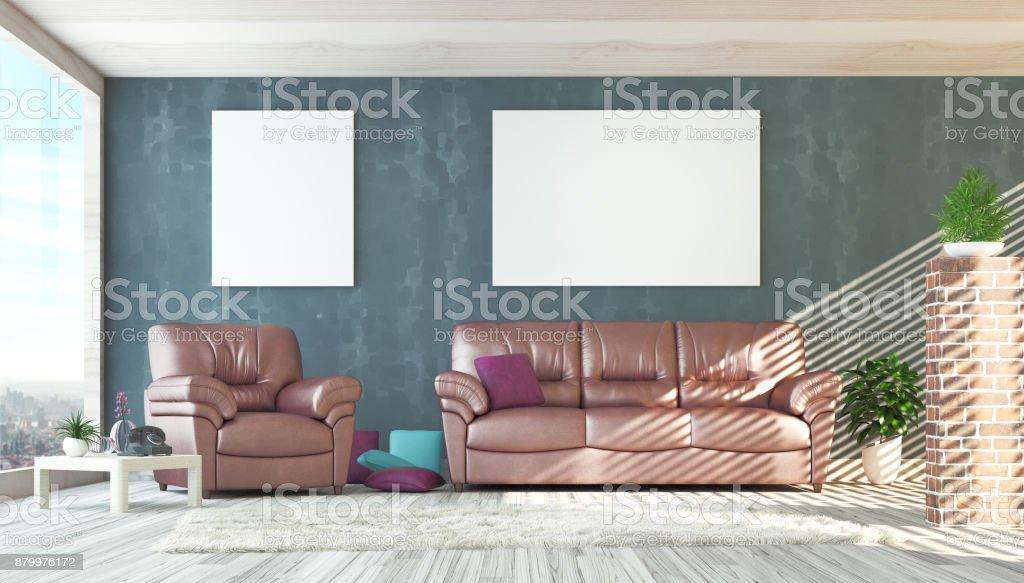 Woonkamer Op Zolder : Woonkamer met sofa en parket zolder modern open ruimte stockfoto en
