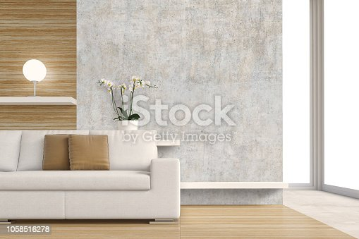 Living room with sofa and decoration on hardwood floor in front of gray plaster wall and copy space and windows in the background. 3D rendered image.