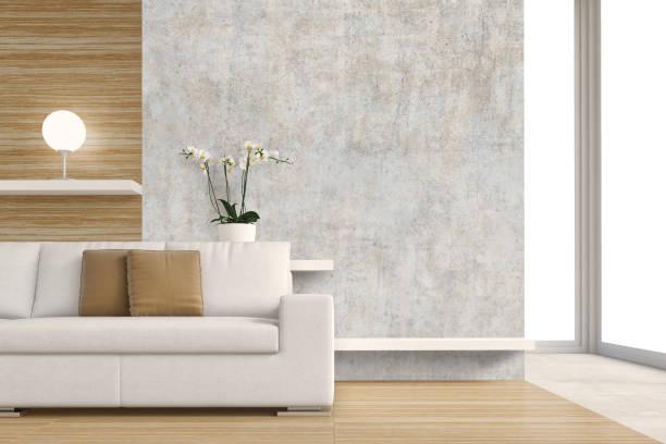 wohnzimmer mit sofa, dekoration und kopie platz - verputz stock-fotos und bilder