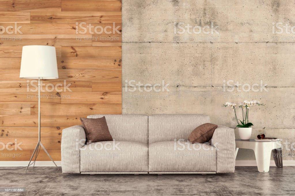 Salon avec canapé, décoration et copie de l'espace - Photo de A la mode libre de droits