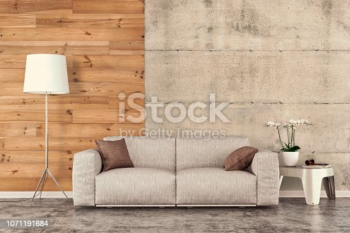 Living room with sofa and decoration on gray concrete floor in front of hardwood and concrete wall with copy space. 3D rendered image.