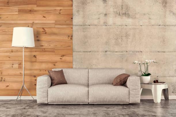 wohnzimmer mit sofa, dekoration und kopie platz - betonboden wohnzimmer stock-fotos und bilder