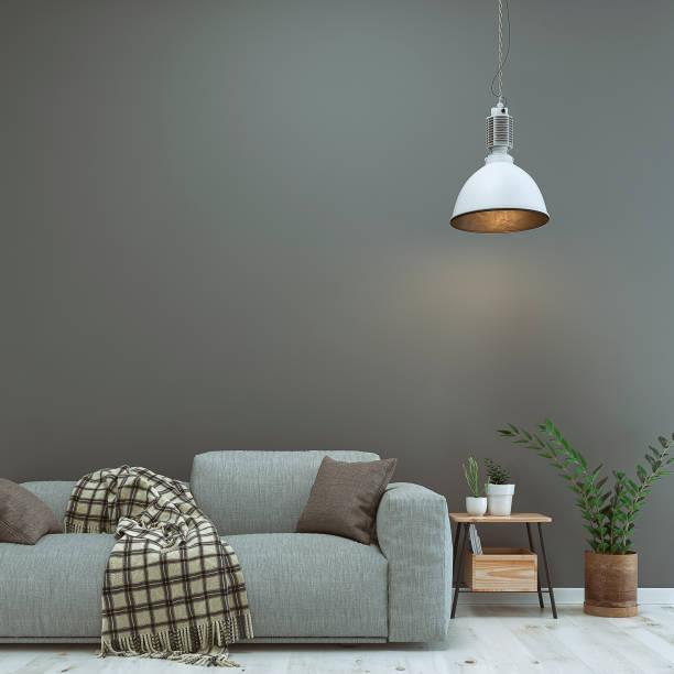 wohnzimmer mit sofa, dekoration und kopie platz - foyerdesign stock-fotos und bilder