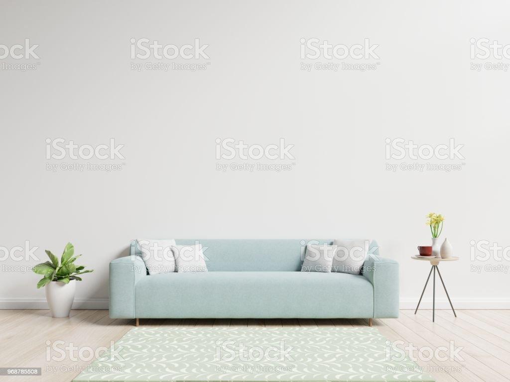 Woonkamer met sofa hebben kussens - Royalty-free Appartement Stockfoto