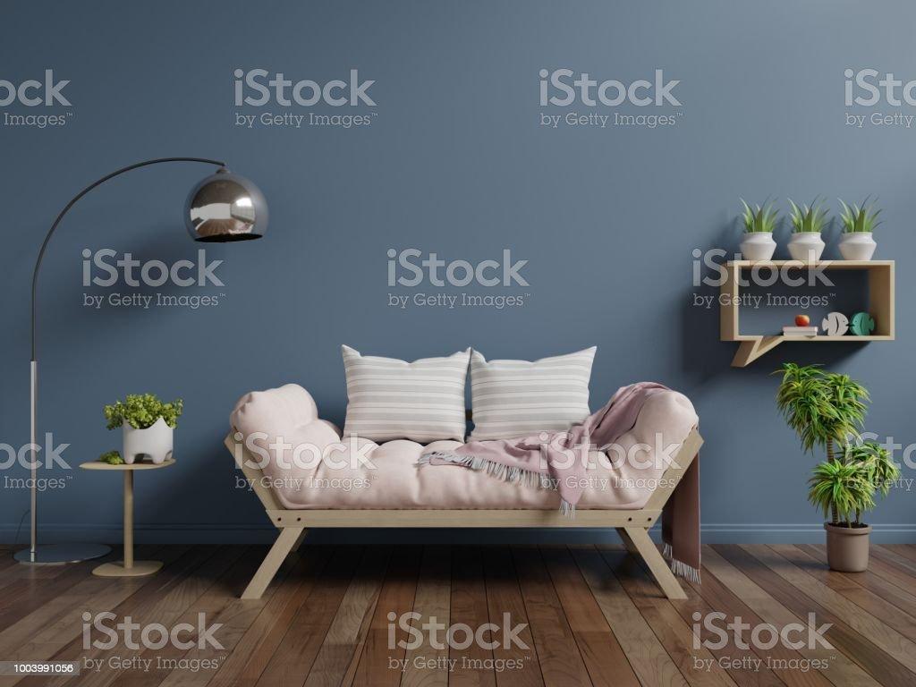 Astonishing Living Room With Sofa On Wooden Flooring And Dark Blue Wall Evergreenethics Interior Chair Design Evergreenethicsorg