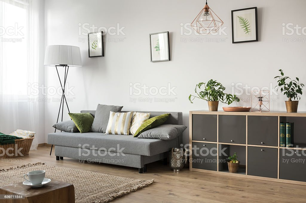 ソファー付きのリビングルーム ストックフォト