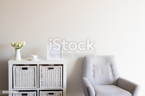 istock Living room with square blank frame 855256986